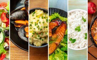 Collage photo de plusieurs plats de la gastronomie européenne: salade grecque, moules, Saumon, purée et riz